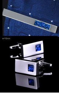 Зажим для галстука и запонки , горный хрусталь синий, модель 51